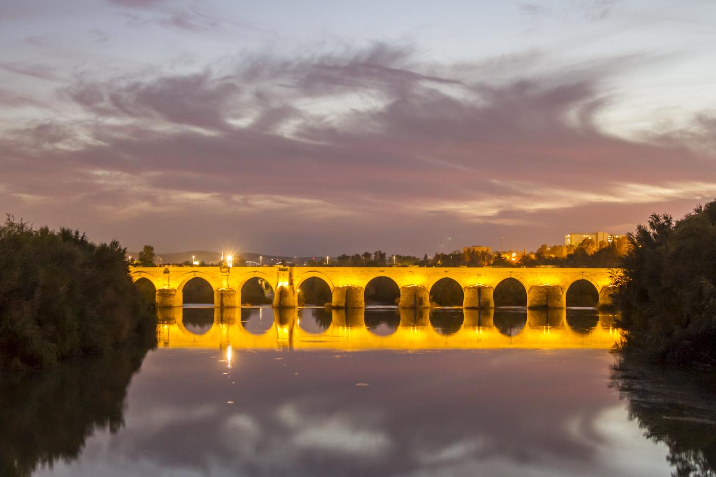 Coucher de soleil sur le Pont Romain