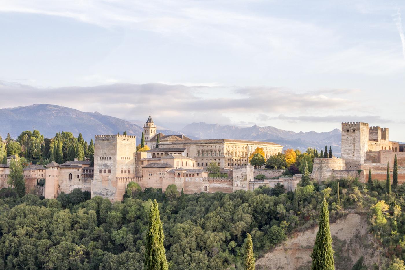 Coucher de soleil sur l'Alhambra depuis San Nicolas